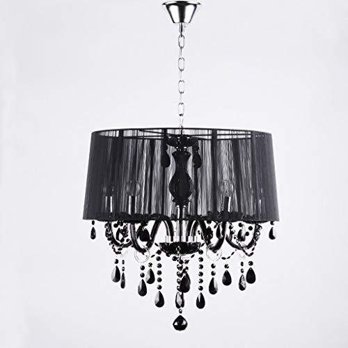 ZLL Wohnzimmer-Deckenleuchte, Moderne Kristallleuchter-geführte Lampen-weißer/schwarzer zeichnender Lampenschirm-Leuchter E12 / E14 führte die Beleuchtung, die Glanz-Droplight/Anhänger, Haushalts