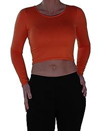 EyeCatch- Ladies Casual Short Mini Crop Long Sleeve Top Womens Fashion Stretch Scoop Neck T-Shirt