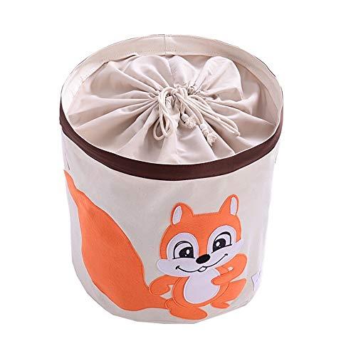 Aufbewahrungskörbe, Baumwolle faltbare Runde Home Organizer Bin für Baby Nursery, Spielzeug, Wäscherei, Babykleidung, Geschenkkörbe (Rot, Hahn), Fox