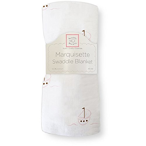 SwaddleDesigns Marquisette Swaddling Blanket, Sailboats, Pink (japan import)