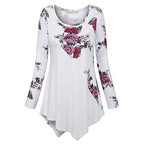 VEMOW Sommer Herbst Elegant Damen Oberteil Langarm O Neck Printed Flared Floral Beiläufig Täglich Geschäft Trainieren Tops Tunika T-Shirt Bluse Pulli(A-Weiß, EU-38/CN-S)