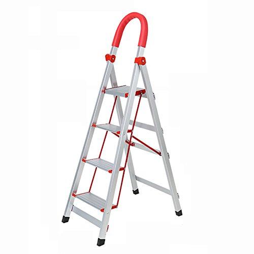 DQMSB Thicken 3 4-Stufen-Leiter mit rutschfesten Füßen Aluminium-Haushaltsleiter mit Armlehnen Falten Rolltreppe Treppen Edelstahl Zweistufige Leiter (größe : B) - 4 Armlehnen