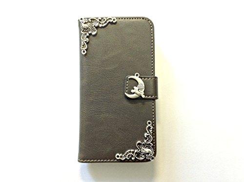 Kaninchen auf dem Mond Handy Leder Brieftasche Fall Handgemachte Handy Brieftasche Abdeckung für Iphone X Xs Xr Xs Max 6 6s 7 8 Plus Samsung Galaxy S9 S8 Plus S7 Edge Note 8 Note 9 Case Cover Mn0133 -