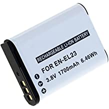 subtel® Batería premium para Nikon Coolpix B700, Coolpix P600, Coolpix P610, Coolpix P900, Coolpix S810c (1700mAh) EN-EL23 bateria de repuesto, pila reemplazo, sustitución
