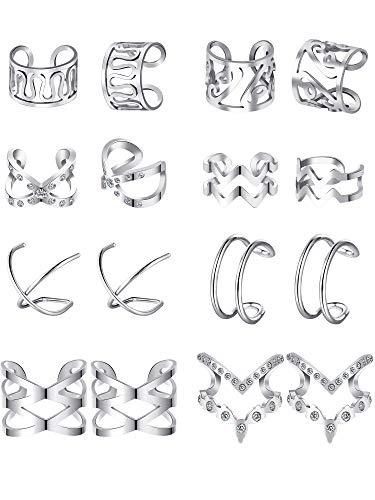 Blulu 8 Paare Edelstahl Ohr Manschette Ohrklemme Nicht Piercing Clip auf Knorpel Ohrringe für Männer Damen (Stil Set 2, Stahl)