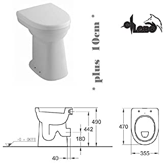 Keramag Allia Paris Care Standflachspül WC Toilette Stand Flach erhöht um +10cm + Haro WC Sitz
