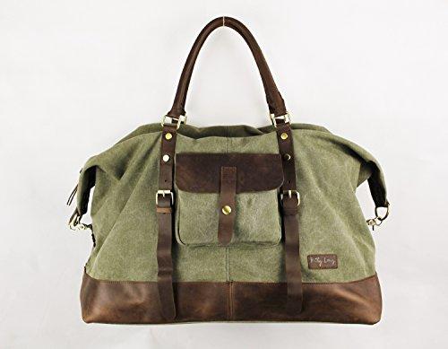 Canvas Reisetasche , Ketty Long VENEDIG Handgefertigt Vintage Damen Büffel Leder Einzigartiges Design Schultertasche Designertasche Einzigartig Stadttasche (Natürliche Segeltuch-schuhe)
