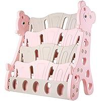 BAMNY Kids Bookshelf Childrens Giraffe Bookcase With 4 Shelves Kindergarten Plastic Cartoon Picture