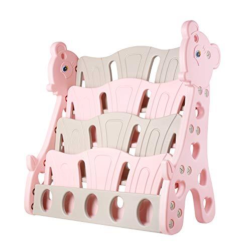 BAMNY Kinder Bücherregal Giraffe mit 4 Ablagenfächern, stabiles Kinderregal Aufbewahrungsregal für Kinderzimmer, 80 x 38 x 86cm (Rosa) -