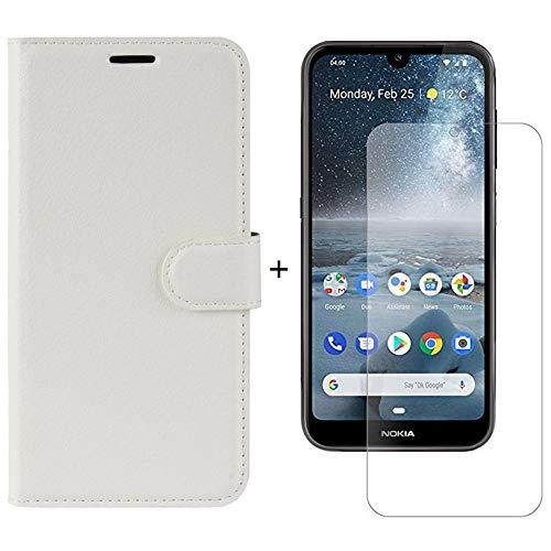 Venga amigos per Nokia 4.2 Custodia con Vetro temperato,Caso in PU Pelle Portafoglio[Slot per Schede][Chiusura Magnetica]+9H Pellicola Protettiva per Nokia 4.2