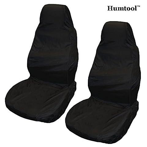 2 x Housses de Siège pour Voiture Ultra Léger Imperméable Protection Auto Amovible Universel Protecteur Avant Housse de Siège Noir Nylon Imperméable Anti-huile