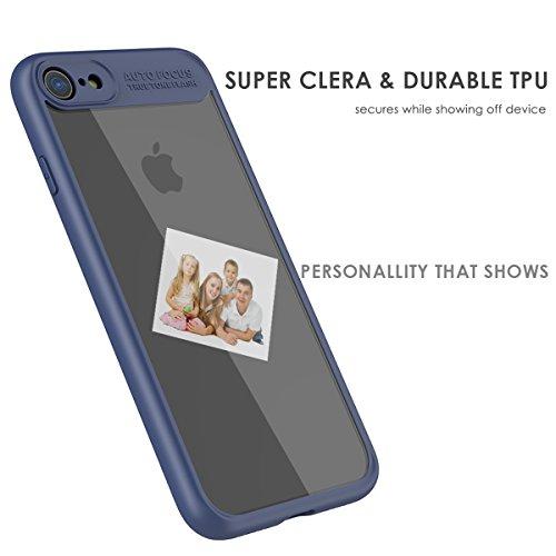 iPhone 7 Housse Coque, Moonmini Ultra-mince Eagle-eye Anti-rayures Antidérapante TPU Pare-chocs Transparent Panneau arrière rigide Case Cellphone Shell pour iPhone 7 (Bleu) Bleu