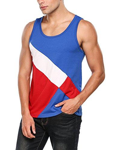 HOTOUCH Herren Tanktop Tankshirt Patchwork T-Shirt Tank Top Typ1-Blau