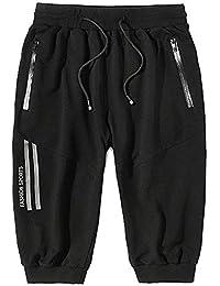 FuweiEncore Pantalones Cortos para Hombre Pantalones Capri Deportivos  elásticos de 3 4 más elásticos con 74e0d4def4ab