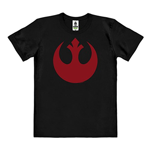 Star Wars - Rogue One - Rebel Alliance Logo T-Shirt Organic Herren - schwarz - Bio Baumwolle - organic cotton - Lizenziertes Originaldesign - LOGOSHIRT, Größe L (Rebel Star Wars Kostüm)
