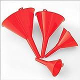 Pack 4 embudos plástico rojo