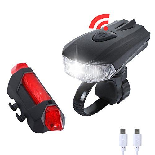 Beleuchtung Fahrrad Set, Axlepic USB aufladbare Fahrradlicht mit CREE XPG LED Frontsensorlichter & 5 LED Rücklichter für Bergstraße Blitzlicht