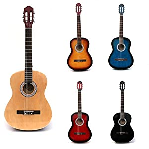 RayGar 4/4 full size acoustic nylon classical string guitar package pack - inc bag, strap, pick, pitch pipes and guitar tutor dvd - New