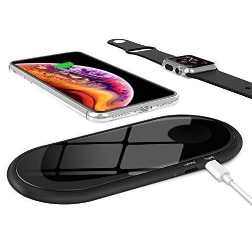 zealsound Dual Wireless Charger, Qi-zertifiziertes 2-in-1 Mini Glas-Wireless-Ladegerät DREI Lademodi, Schnellladestation, Ultraflaches Pad für alle Qi-fähigen Telefone und iWatch 1/2/3 (Schwarz)