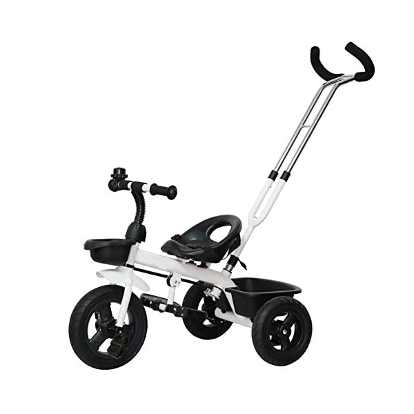 GSDZSY - Baby Child Tricycle,with Removable Push Handle Bar,Shock Absorption EVA Wheel,With Seat Belt And Bell,1.5-5 Years,White GSDZSY ❀ Material: high carbon steel + ABS + EVA, suitable for children aged 1-5 ❀ Features: The push rod can be adjusted to the height, can control the direction, suitable for people of different heights; the seat can be adjusted to facilitate the use of children of different heights; the foldable center footstool with seat belts and brakes ❀ Performance: high carbon steel frame, sturdy and durable; EVA wheel anti-slip, wear-resistant, suitable for all road conditions, good shock absorption, seat with soft material, baby ride more comfortable 1