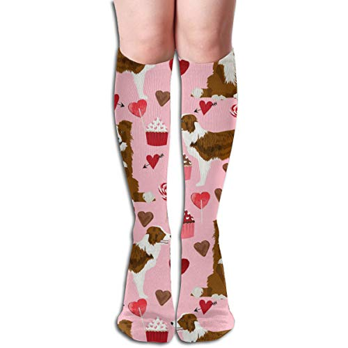 Stocking Border Collie Valentines Day Cupcakes Hearts Love Dog Breed Pink Multi Colorful Patterned Knee High Socks 19.6Inchs ()