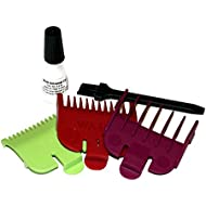 Wahl 3 Short Attachment Comb Set - for Wahl Super Taper, Chromepro, Balding, Magic 5 Star and other Wahl Clippers, 1/2 1.5mm Green, 1 3mm Red, and 1.5 4.5mm Plum