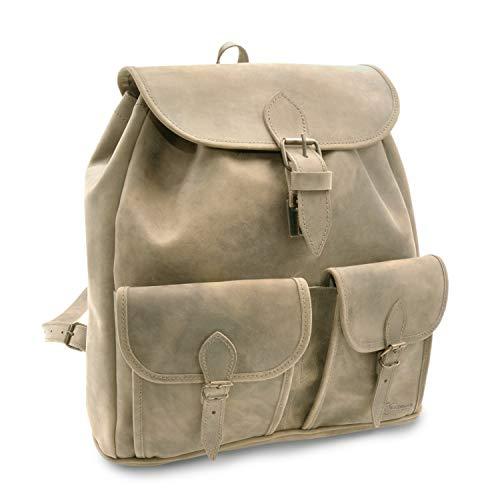 Made in Germany Vintage Rucksack - Lederrucksack Milano aus braunem Leder inkl. Bio-Lederpflege von THIELEMANN