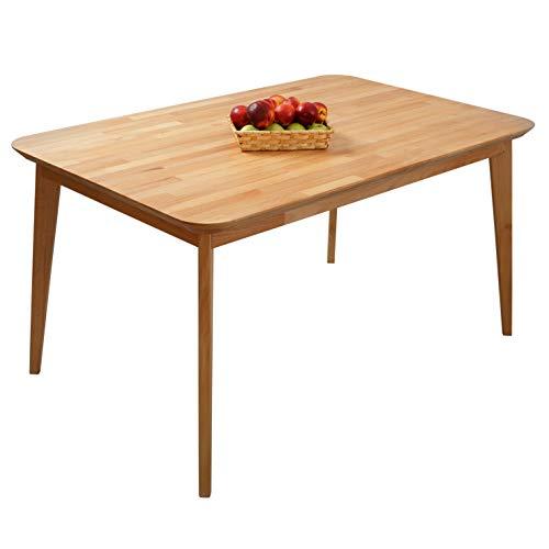 Krokwood Paris Massivholz Esstisch in Buche FSC100{0c311d9a20db390de98d8aed3ca9438c1ab7c6789c067dd5c0c5442fe69856d5} massiv Beistelltisch geölt Buchenholz Esszimmertisch Küche praktischer Küchentisch Holztisch vom Hersteller (140 x 90 x 75 cm)