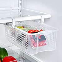 Cojinetes grandes Refrigerador de plástico Extraíble Bandeja Snap Cajón Uso en el hogar Fácil de instalar Caja de almacenamiento para refrigerador (Color: blanco)