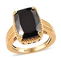 TJC Cushion Silver Shungite 925 Sterling Silver 14ct Gold Plated Engagement Solitaire Ring for Women & Girls Size L, 4 ct