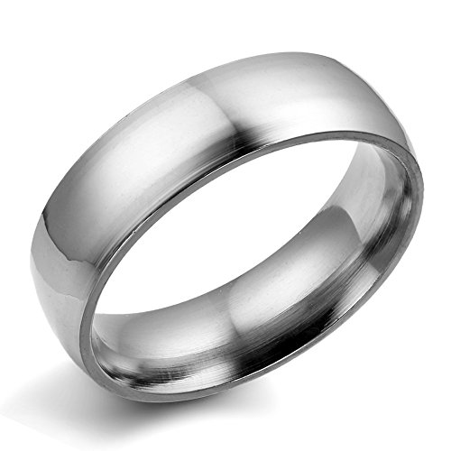 Flongo Men's Silver Plain Stainless Steel Couples Engagement Wedding Band Ring, Size T