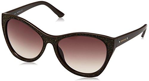 Swarovski sk0108-5948f, occhiali da sole donna, marrone (shiny dark brown), 59