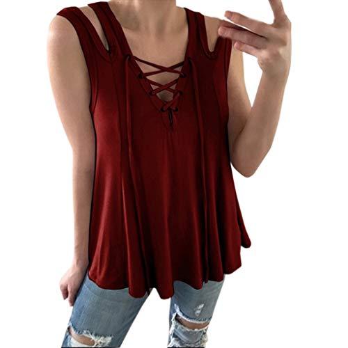 LEXUPE Mode Damen äRmellos AushöHlen Tank Top V-Ausschnitt Verband BeiläUfige Bluse ()