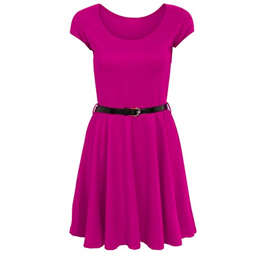 Janisramone Damen Skaterkleid Kleid, Einfarbig * Einheitsgröße Kirschrot