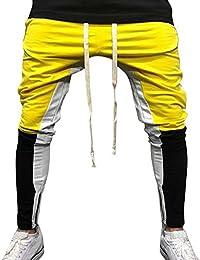 DEELIN Hommes Sport Jogging Fitness Pantalon Élasticité Casual Color Block  Lâche Pantalons De Jogging Cordon de c71c5906aee
