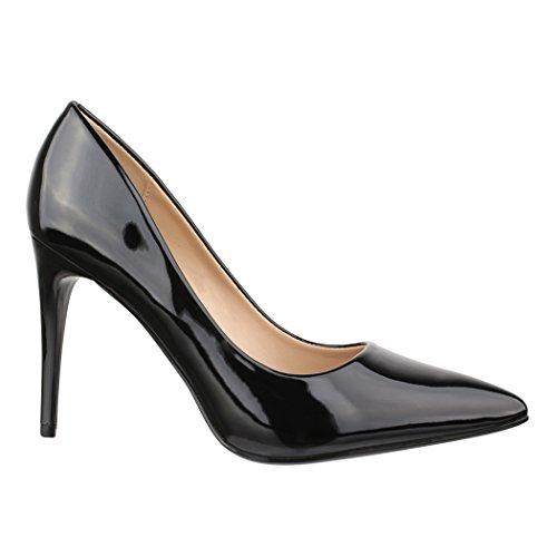 Elara Damen Pumps Spitz | Moderne High Heels | Bequeme Lack Stilettos | Chunkyrayan C-12 Black-40