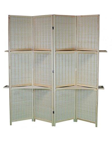 Home Line Biombo practico con estanterías de Madera y Bambú Natural de Cuatro Paneles