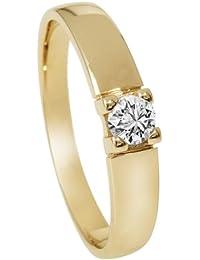 Diamond Line Damen - Ring 585er Gold 1 Diamant ca. 0,25 ct.