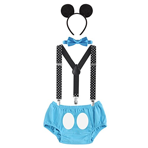 OwlFay Neugeborenen Kleinkind Baby Jungen Mickey Maus 1. / 2./ 3. Geburtstag Outfit Fotoshooting Kostüm Fliege +Clip-on Hosenträger +Hosen +Maus Ohren 4pcs Bekleidungssets Halloween Karneval (Hosenträger Kostüm Zähne)