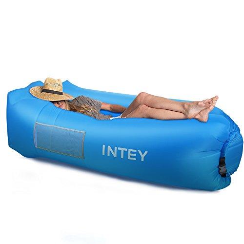 INTEY Aufblasbares Liege Sofa,Wasserdichtes Luft Sofa Couch mit dem kreativen Kissen und Tragtasche für Meer, Strand, Schwimmbad, Reisen, Urlaub und Camping (Blau)