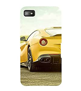 FUSON Yellow Royal Sports Car 3D Hard Polycarbonate Designer Back Case Cover for BlackBerry Z10