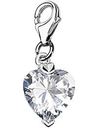 Quiges Charm Colgante de Plata de Ley 925 Corazón Blanco Cristal Circonita con Cierre Pinza de Langosta