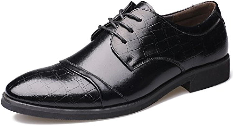 LEDLFIE Zapatos De Cuero Real De Los Hombres Zapatos De Negocios Clásicos con Cordones -