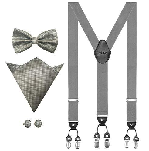 Aissy Hosenträger für Herren 3.5cm Y-Form Elastisch und Längenverstellbar Hosenträger Breit mit 6 starken Clips und Fliege & Einsteckuch GGrau