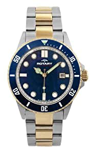 Rotary Aquaspeed Men's Quartz Watch with Blue Dial Analogue Display and Multicolour Stainless Steel Bracelet AGB00027/W/05