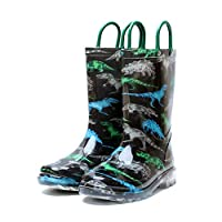 GOUPPER Waterproof Slip-on Kids Rain Boots Easy On&Off with Handles Half-Height Wellies for Boys and Girls (Black)