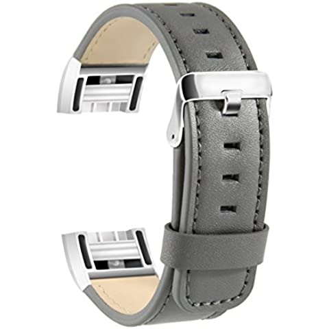 Fitbit Charge 2 Leather Band, SoftFloat Replacement Luxury Genuine Leather Band Strap for Fitbit Charge 2 ,with Metal Clasp (gray)