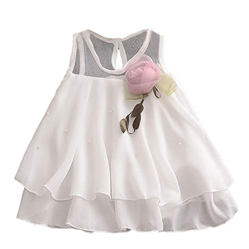 IZHH Kinder MäDchen Rock 6M-24M Kind ÄRmellos Einfarbig Blume Mesh Rock Stitching Puff Kleid Kleinkind Baby MäDchen ÄRmellos Solide TüLlrock Blumen Party Prinzessin Kleider(Weiß,100)