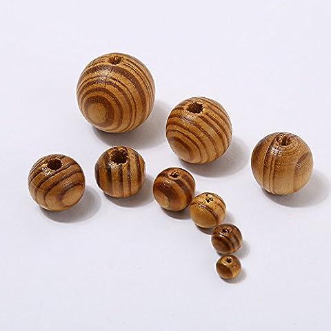 100pcs 12mm Stripe en bois perles Loose Round Necklace Balles