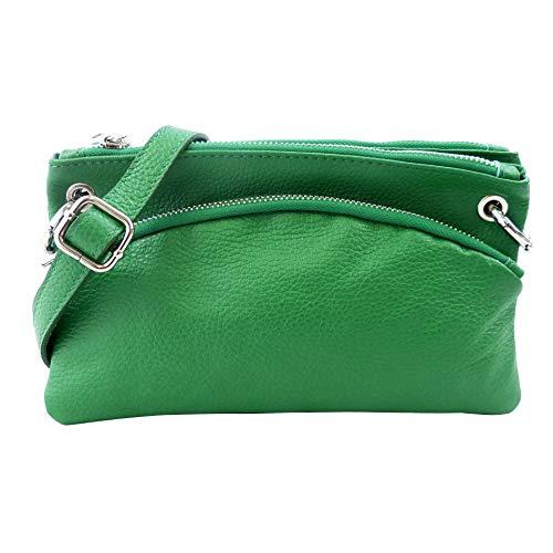 SH Leder Echtleder Umhängetasche Clutch kleine Tasche Abendtasche 24,50x14cm G1619 (Grün) - Grün Leder-clutch